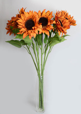 Artificial Mustard Colour Sunflower (PACK OF 6 STEMS)