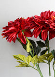ARTIFICIAL RED DAHLIA FLOWER (WHOLESALE PACK OF 12 STEMS)
