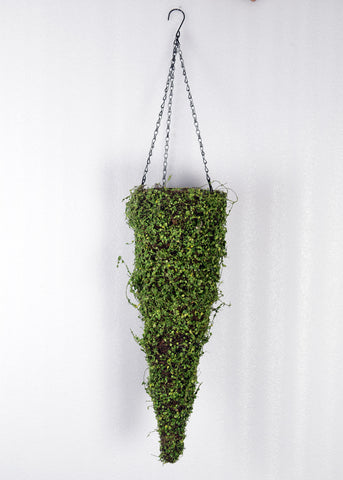 ARTIFICIAL MOSS COVERED HANGING METAL BASKET - CONICAL 24 INCH