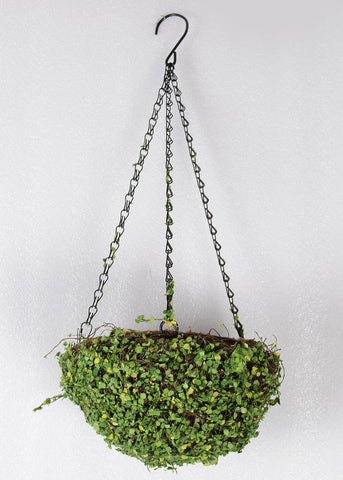 ARTIFICIAL MOSS COVERED HANGING METAL BASKET - ROUND 12 INCH
