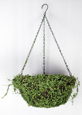ARTIFICIAL MOSS COVERED HANGING METAL BASKET - ROUND 10 INCH