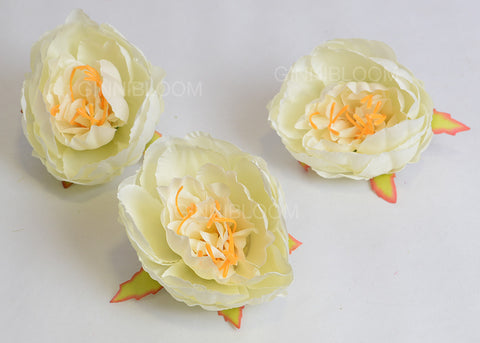 ARTIFICIAL PEONY HEAD - WHITE (WHOLESALE PACK OF 50 HEADS)