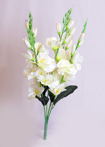 ARTIFICIAL GLADIOLI BUNCH - WHITE (WHOLESALE PACK OF 12 BUNCH)