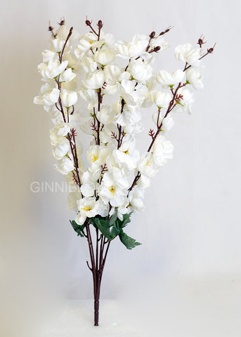 ARTIFICIAL CHERRY BLOSSOM BUNCH - WHITE (WHOLESALE PACK OF 250 BUNCHES)