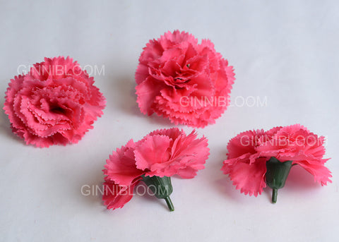 ARTIFICIAL CARNATION HEADS - DARK PINK (WHOLESALE PACK OF 500 HEADS)