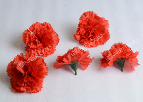 ARTIFICIAL CARNATION HEADS - RED  (WHOLESALE PACK OF 1000 HEADS)