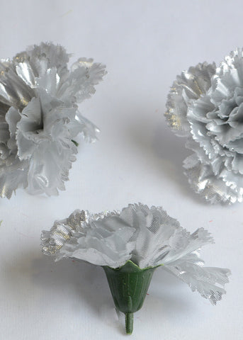 ARTIFICIAL CARNATION HEADS - SILVER (WHOLESALE PACK OF 500 HEADS)