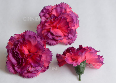 ARTIFICIAL CARNATION HEADS - PURPLE SHADED (WHOLESALE PACK OF 1000 HEADS)