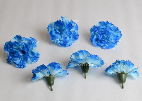 ARTIFICIAL CARNATION HEADS - BLUE (WHOLESALE PACK OF 500 HEADS)