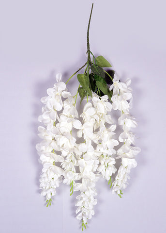 ARTIFICIAL THICK HANGING ORCHID BUNCH x 5 - WHITE (WHOLESALE PACK OF 120 PCS, @ 120/- EACH)