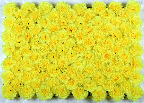ARTIFICIAL CARNATION FLOWER MAT - YELLOW COLOUR (WHOLESALE PACK OF 6 MATS/ 15 SQ FEET)