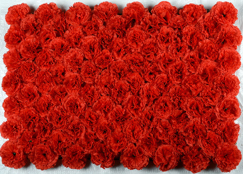 ARTIFICIAL CARNATION FLOWER MAT - RED COLOUR (WHOLESALE PACK OF 6 MATS/ 15 SQ FEET)