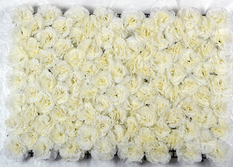 ARTIFICIAL CARNATION FLOWER MAT - WHITE COLOUR (WHOLESALE PACK OF 6 MATS/ 15 SQ FEET)