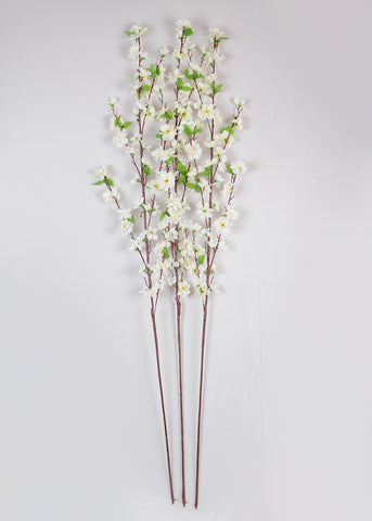 CHERRY BLOSSOM STICK - WHITE (WHOLESALE PACK OF 20 STEMS)