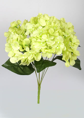 ARTIFICIAL LARGE HYDRANGEA BUNCH X 7 - GREEN (WHOLESALE PACK OF 6 BUNCHES)