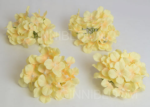 ARTIFICIAL HYDRANGEA FLOWER HEADS - YELLOW (WHOLESALE PACK OF 50 HEADS)