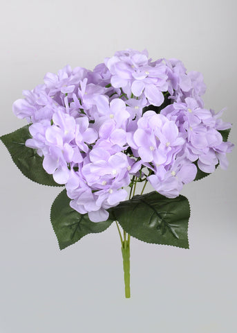 ARTIFICIAL LARGE HYDRANGEA BUNCH X 7 - LILAC (WHOLESALE PACK OF 6 BUNCHES)