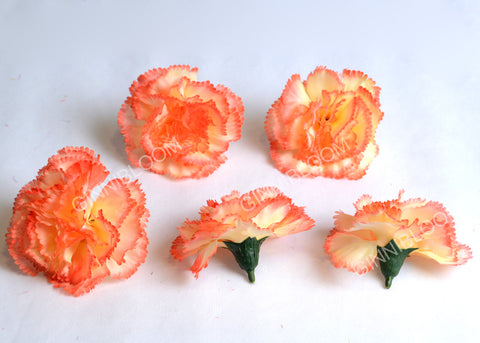 ARTIFICIAL CARNATION HEADS - ORANGE SHADED (WHOLESALE PACK OF 500 HEADS)