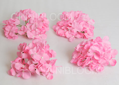 ARTIFICIAL HYDRANGEA FLOWER HEADS - PINK (WHOLESALE PACK OF 500 HEADS @ RS. 16.00 EACH)
