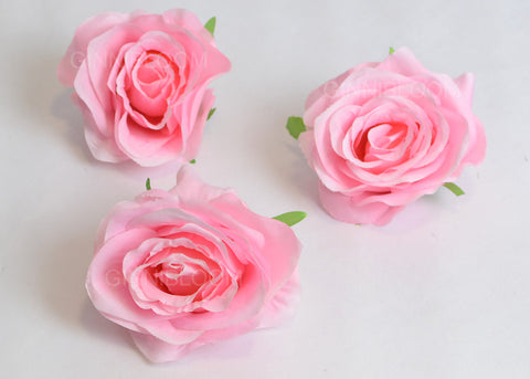 ARTIFICIAL ROSE HEADS - PINK (WHOLESALE PACK OF 50 HEADS)