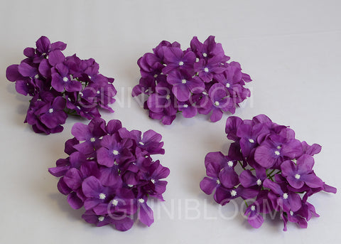 ARTIFICIAL HYDRANGEA FLOWER HEADS - PURPLE (WHOLESALE PACK OF 50 HEADS)