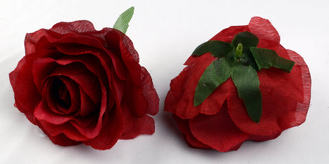 ARTIFICIAL ROSE HEADS - MAROON/ DARK RED (WHOLESALE PACK OF 50 HEADS)