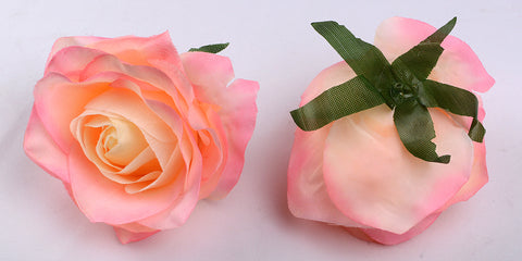 ARTIFICIAL ROSE HEADS - LIGHT PINK & PEACH SHADED (WHOLESALE PACK OF 50 HEADS)