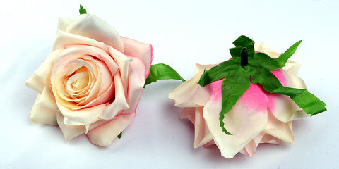 ARTIFICIAL TEA ROSE HEADS - CREAM SHADED (WHOLESALE PACK OF 50 HEADS)
