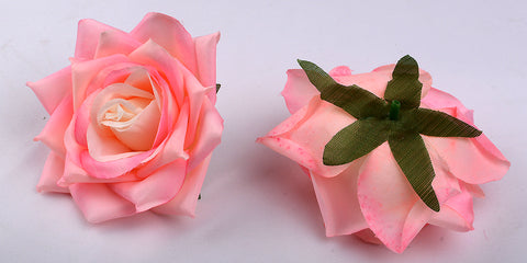 ARTIFICIAL TEA ROSE HEADS - LIGHT PINK SHADED (WHOLESALE PACK OF 50 HEADS)