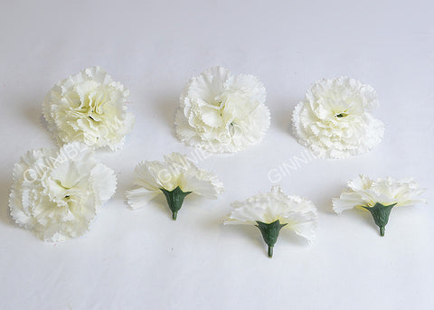 ARTIFICIAL CARNATION HEADS - WHITE (WHOLESALE PACK OF 500 HEADS)
