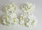 ARTIFICIAL HYDRANGEA FLOWER HEADS - WHITE (WHOLESALE PACK OF 50 HEADS)