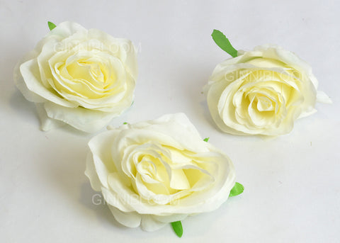 ARTIFICIAL ROSE HEADS - WHITE (WHOLESALE PACK OF 500 HEADS @ RS. 14.00 EACH)