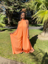 Load image into Gallery viewer, Orange Halter Top Wide Leg Jumpsuit