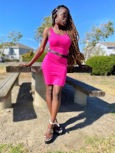 SEXY CAN I SLEEVELESS MINI DRESS NEON PINK