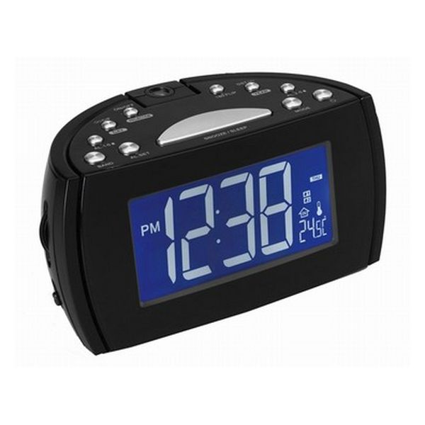 Radio Alarm Clock with LCD Projector Denver Electronics 224810 Black