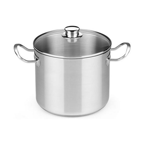 Pot with Glass Lid BRA A343936 10,5 L Stainless steel