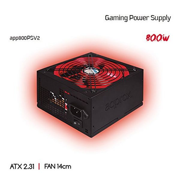 Gaming Power Supply approx! APP800PSv2 14 cm APFC 800W Black Red
