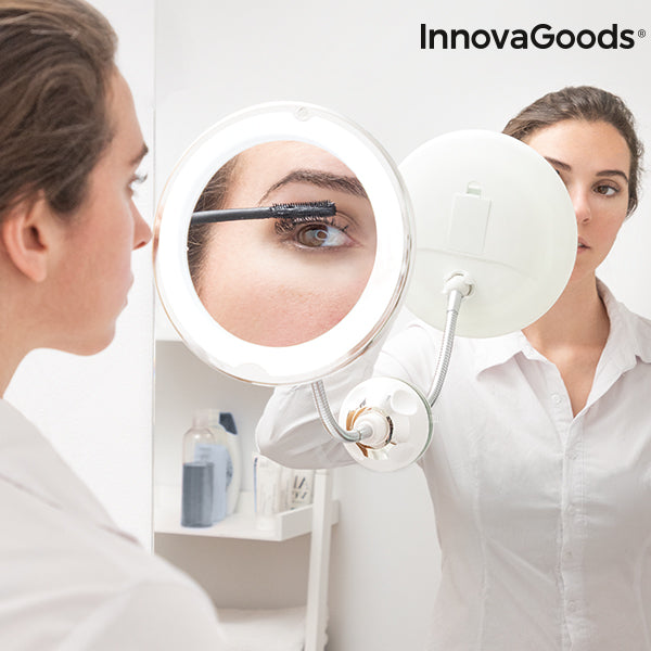 LED magnifying mirror with Flexible Arm and Suction Pad Mizoom InnovaGoods