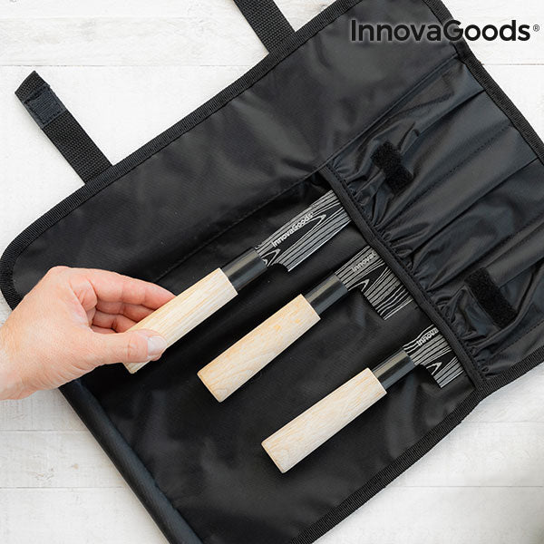 Set of Japanese Knives with Carrying Cover Damas·q InnovaGoods 4 Pieces