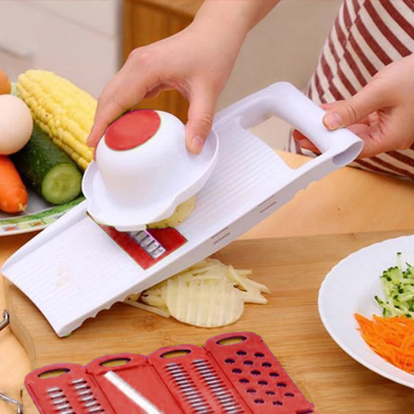 5-in-1 Mandolin Grater Quttin White Red (28 X 11,3 x 3 cm)