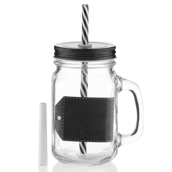Wagon Trend Jar with Chalk, Lid and Straw (pack of 6)