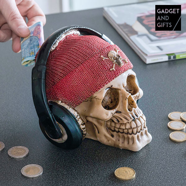 Gadget and Gifts Pirate Skull Piggy Bank with Earphones