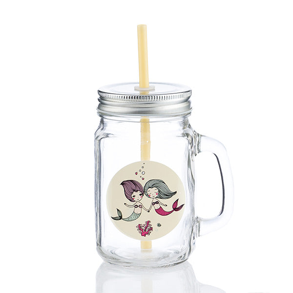 Junior Knows Mermaids Mason Jar Mugs with Lids and Straws (Pack of 4)