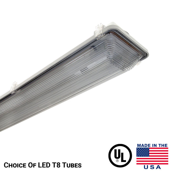 Vaporproof LED light with NO tubes included, Tube Ready Light Fixture