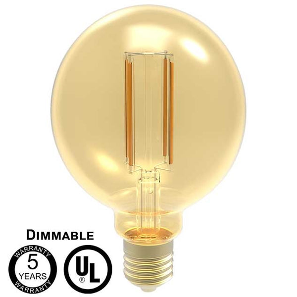 LED One Distribution G30 LED Filament Bulb with E26 Medium Base 5 Year WarrantyW 120V 400 lumens 2200k Dimmable IP20 5 Year Warranty UL Listed