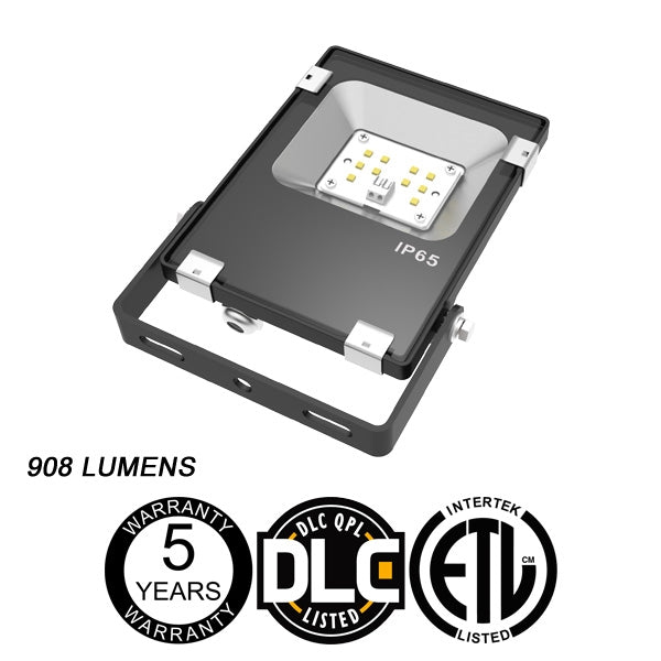 LED One Distribution LED Outdoor Flood Light Yoke Mount 10W 120-277V 908 lumens 5000k Not Dimmable IP65 5 Year Warranty