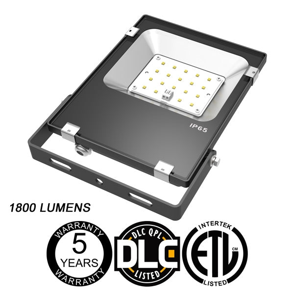 LED One Distribution LED Outdoor Flood Light Yoke Mount 20W 120-277V 1800 lumens 5000k Not Dimmable IP65 5 Year Warranty