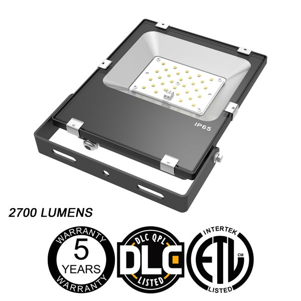 LED One Distribution LED Outdoor Flood Light Yoke Mount 30W 120-277V 2700 lumens 5000k Not Dimmable IP65 5 Year Warranty