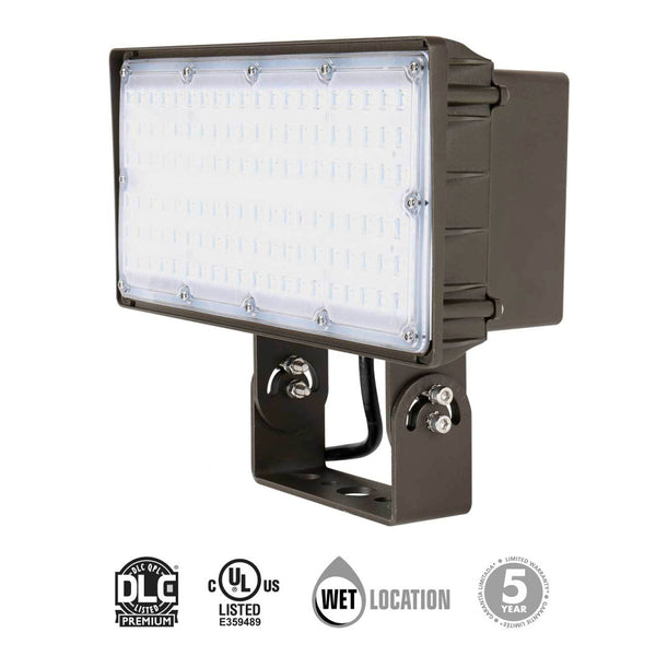 Green LED Zone LED Outdoor Flood Light Yoke Mount 70W 120-277V 8900 lumens 5000k 0-10V Dimmable Wet Location Rated 5 Year Warranty