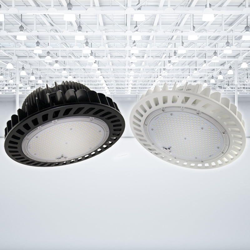 Green LED Zone UFO LED High Bay Light 100W 120-277V 15000 lumens 5000k 0-10V Dimmable IP65 5 Year Warranty